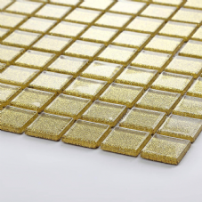 Gold Glitter Glass Mosaic Tiles 30cm x 30cm